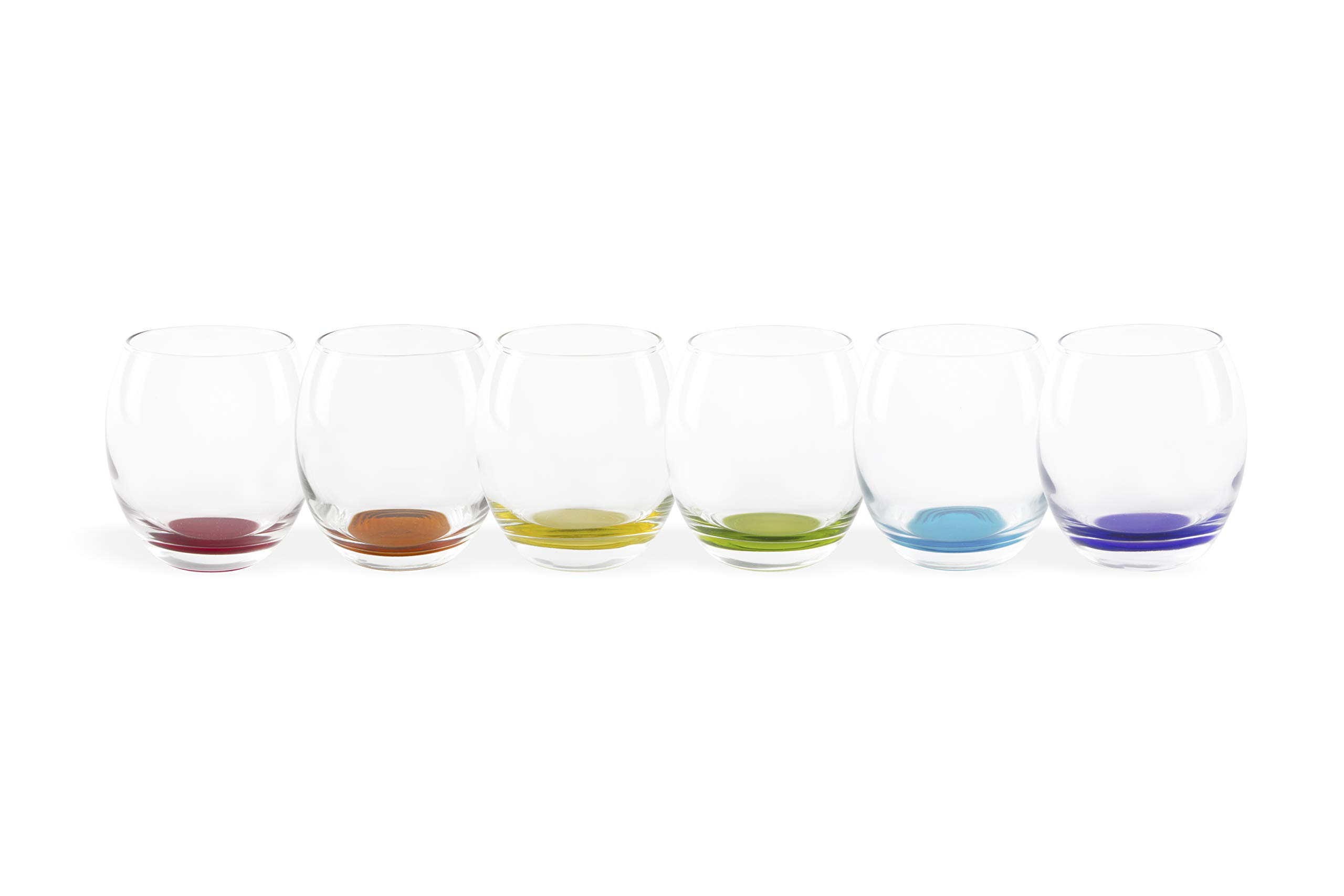 Excelsa Granada Set of 6 Glasses, Glass, Transparent with Coloured Base