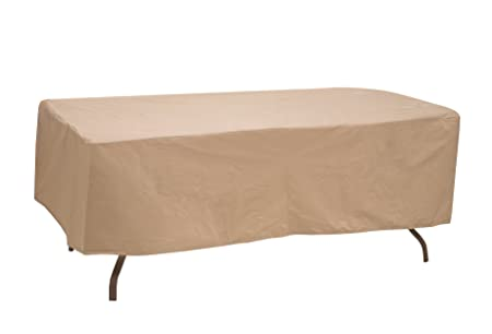 Protective Covers Weatherproof Table Cover, 60 Inch x 66 Inch , Oval Rectangle Table, Tan