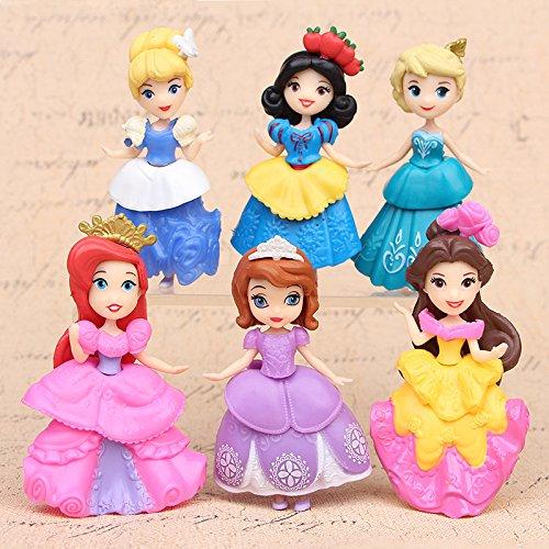 Cinderella toys and snow white princess Figures 6 pcs//set princess figure