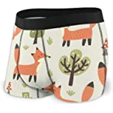 Bestpillow Men's Boxer Briefs Forest Seamless Pattern with Cute Little Foxes and Trees. Underpants Knickers