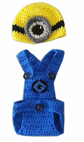Amazon Despicable Me Stuart Minion Cute Shape Crochet Baby Hat