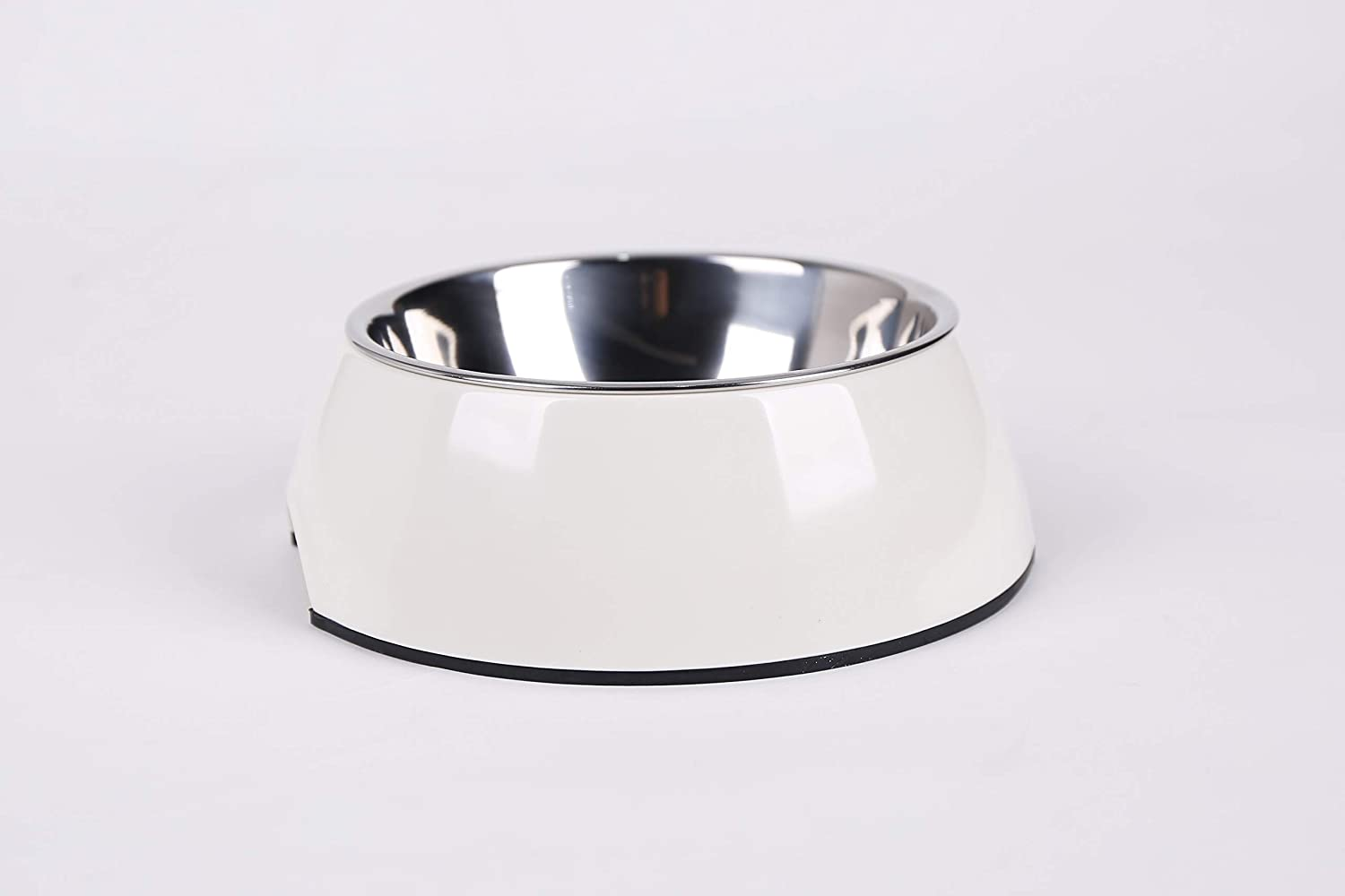 Dog Cat Pet Food Bowl Stainless Steel 2 in 1 Drinking Water Feeding Universal pet Bowl 4 Sizes and 7 Colors Available(White)