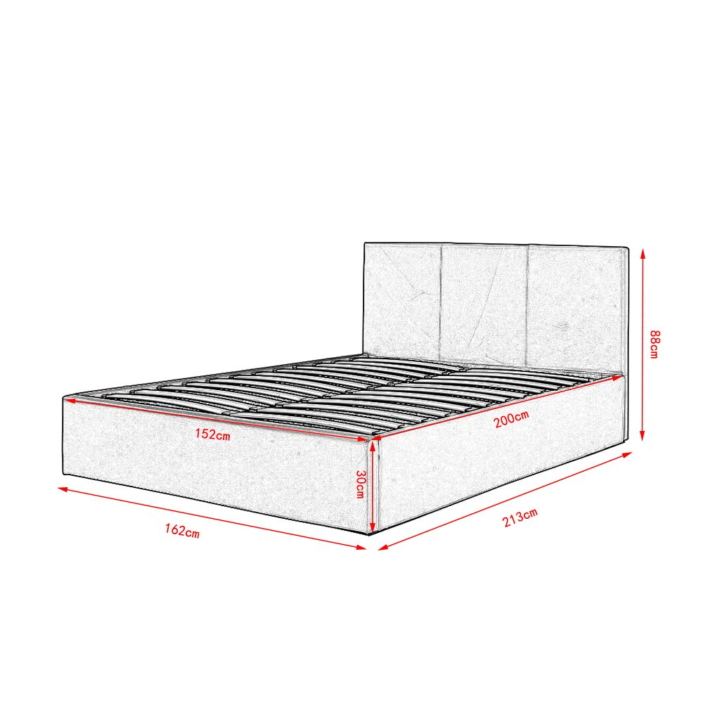 5FT King Size Gas Lift Up bed Modern Faux Leather double bed frame with Headboard For Bedroom creamy-white PALDIN Storage bed frame