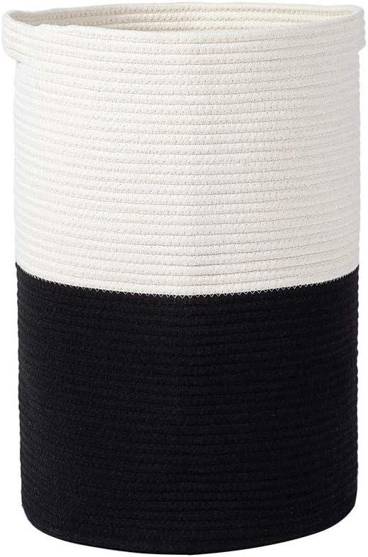 MAXYOYO Cesta de almacenamiento de cuerda de algodón grande, cestas de ropa sucia de hilo de