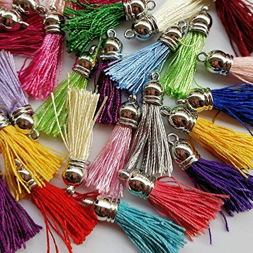 30pcs of Multi-Colors Silky Tassel Charms with Silver Cap Cell Phone Straps DIY 4.0x1.0CM