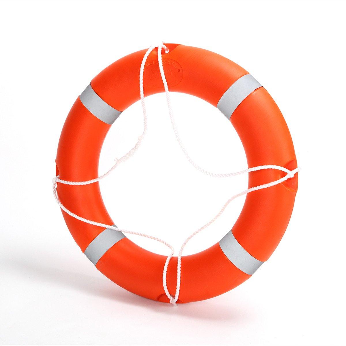 BeautySu. 28'' Diameter Professional Adult Foam Swim Ring Buoy Orange Lifering with White Bands by BeautySu. (Image #1)
