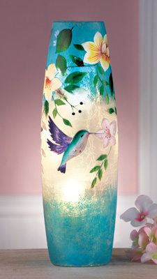 Lighted Hummingbird Crackled Glass Lamp from Collections Etc.