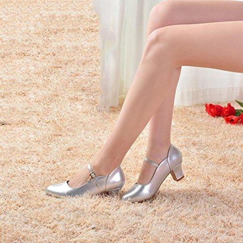 Zapatos con Mujer Rojo Hebilla Verano Práctica de para Principiantes Tacón Plateado Charol para sintético Negro Zapatos Noche Modernos Fiesta Salón PU Zapatos Punta Alto Interior Do y zq4rCz
