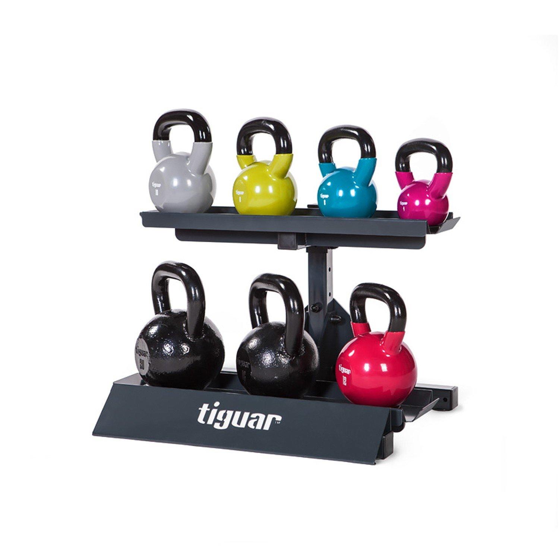 Tiguar Smart Kettlebellsständer Kugelhantel Handgewicht Aufbewahrung für 8 Kettlebells Höhenverstellbare Metallkonstruktion