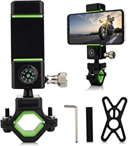 Universal Bike Phone Mount & Bike Phone Mount, Handlebar Phone Holder for Bikes, Bicycles, Scooter, ATV,Compatible iPhone 11, XR, X, XS, 8, 8 Plus, 7, 7 Plus, 6, 6 Plus|Galaxy S10, S9, S8