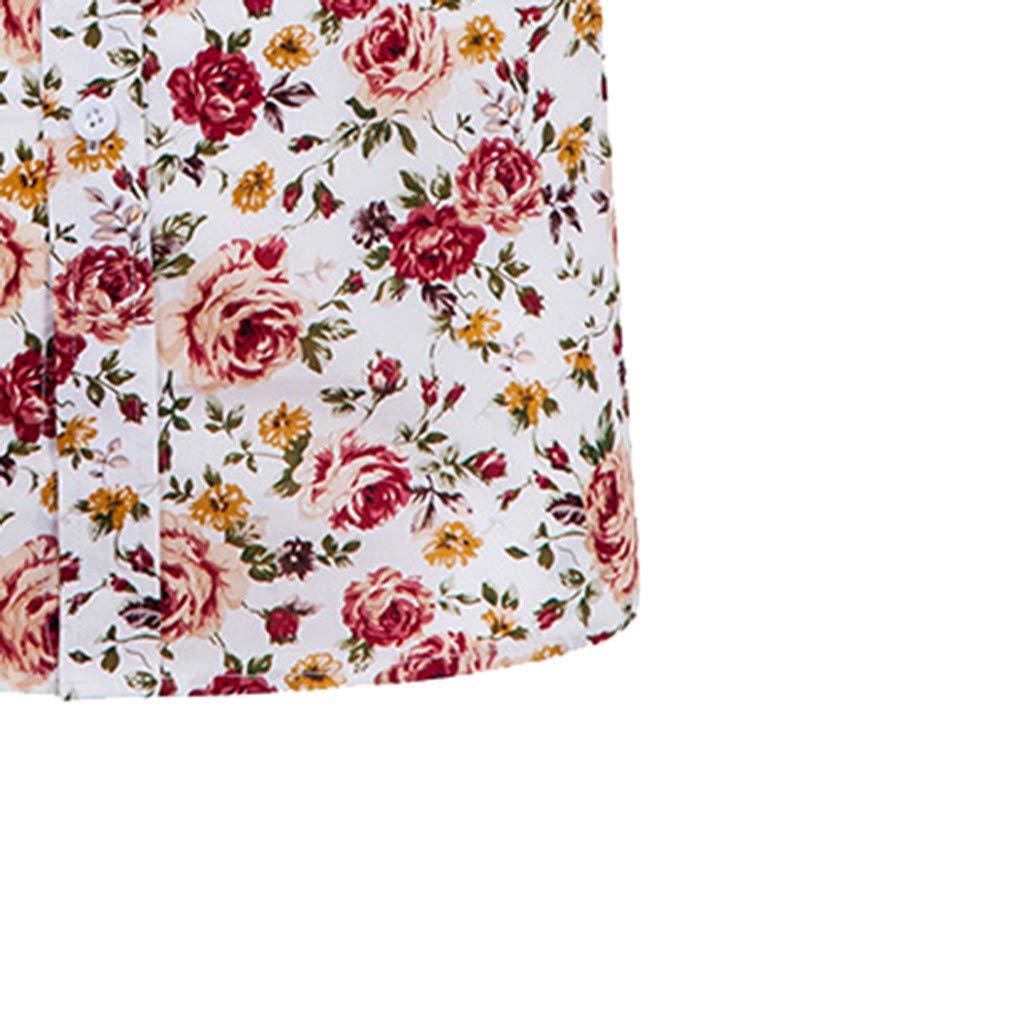 Gergeos Hawaiian Shirt Men Fashion Cotton Flower Print Button Down Short Sleeve Casual Shirt