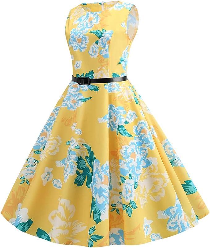WFRAU sukienka koktajlowa w stylu retro lat 50., dla kobiet, rozmiar S-2XL, bez rękawÓw, nadruk w stylu vintage, sukienka wieczorowa z paskiem w talii, na bal absolwentÓw, na wieczÓr, imprezę, formaln