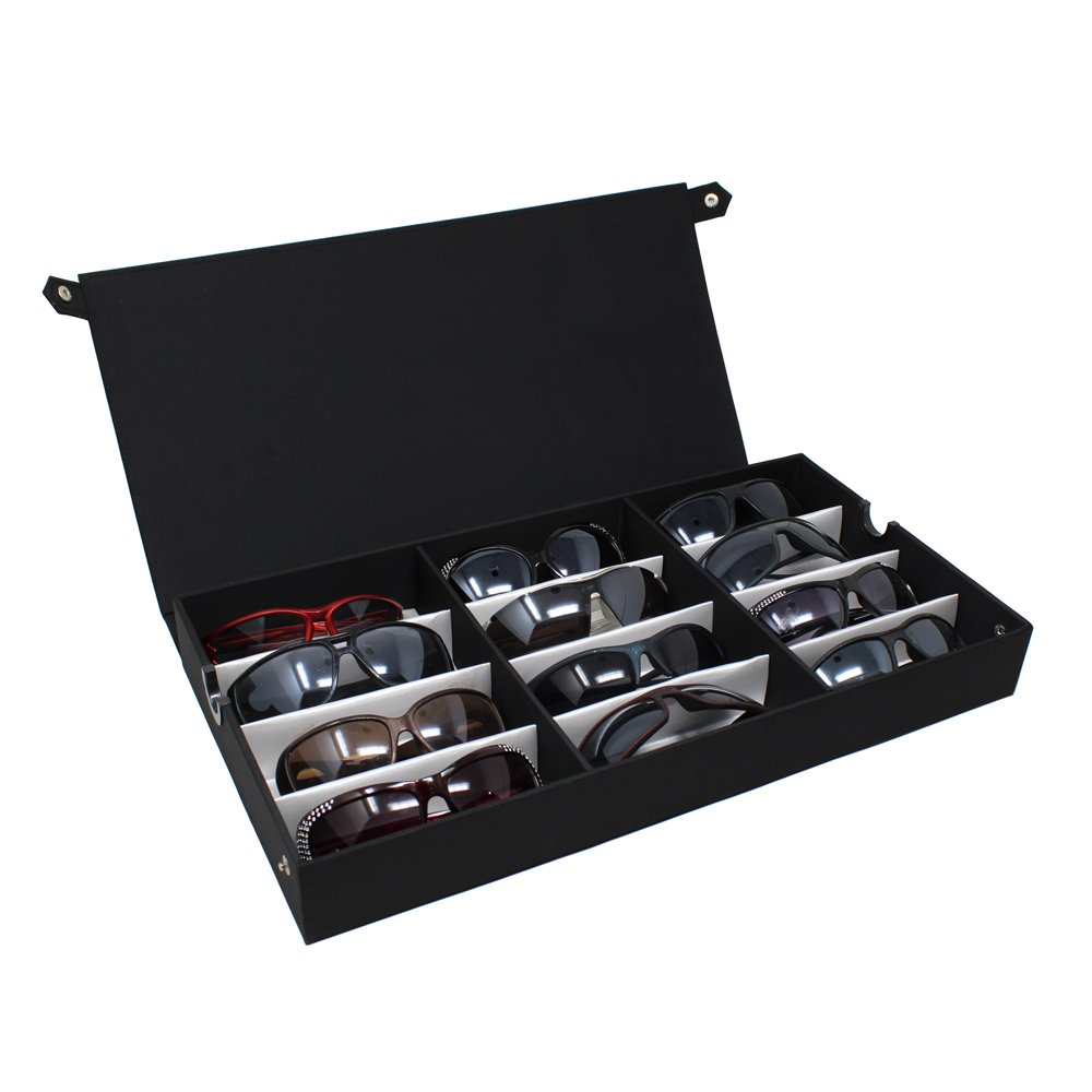 Ikee Design Large 12 Compartment Eyewear Case Eyeglasses, Sunglasses, Watches, Jewelry 19''W x 10''D x 2 1/2'' H
