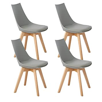 1f35e920366f DORAFAIR Set of 4 Modern Design Scandinavian Dining Chairs with Padded and  Solid Wood Beech Legs