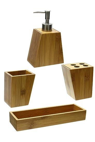 set di 3 accessori per bagno in bamb con vassoio 1 contenitore 1 portaspazzolino