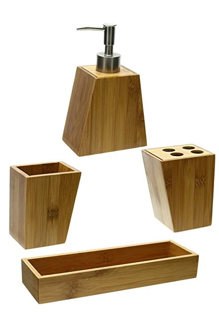 bathroom accessories set of 3 with tray in bamboo