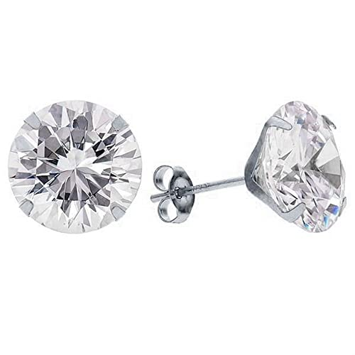 6218b5e06 Amazon.com: 1.5mm 14k White Gold Round Cubic Zirconia Stud Earrings ...