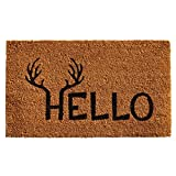 Home & More 121711729 Antler Hello Doormat, 17'' x 29'' x 0.60'', Natural/Black