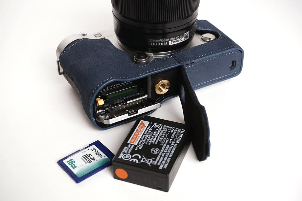 Handmade Genuine Real Leather Half Camera Case Bag Cover for FUJIFILM X-A3 XA3 Blue Bottom Opening Version