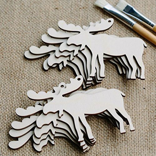 10pcs Wooden Christmas Tree Ornaments, Staron Xmas Tree Chip Embellishments Decorative Hanging Ornaments Pendant Holiday Decoration Christmas Tree Decor (A)