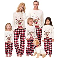 Family Matching Christmas Pajamas Set, Cute Elk Sleepwear for Boys Girls Dad Mum