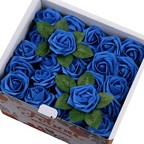 Febou Artificial Flowers, 100pcs Real Touch Artificial Foam Roses Decoration DIY for Wedding Bridesmaid Bridal Bouquets Centerpieces, Party Decoration, Home Display (Concise Type, Blue)