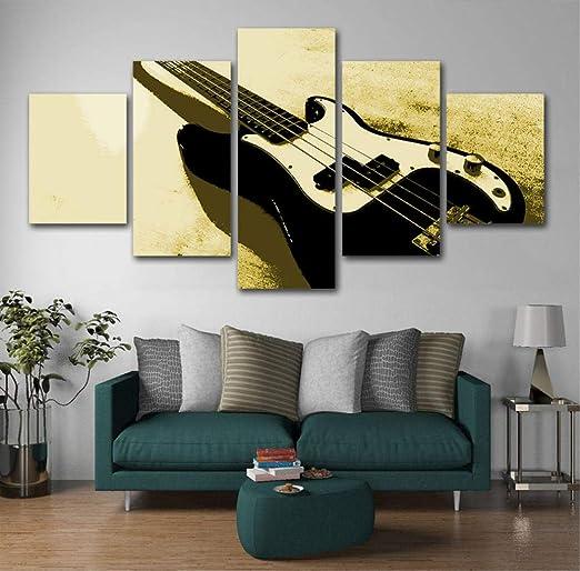 Vandelkt Poster 5 Piezas Lienzo Guitarra Pintura Instrumentos ...