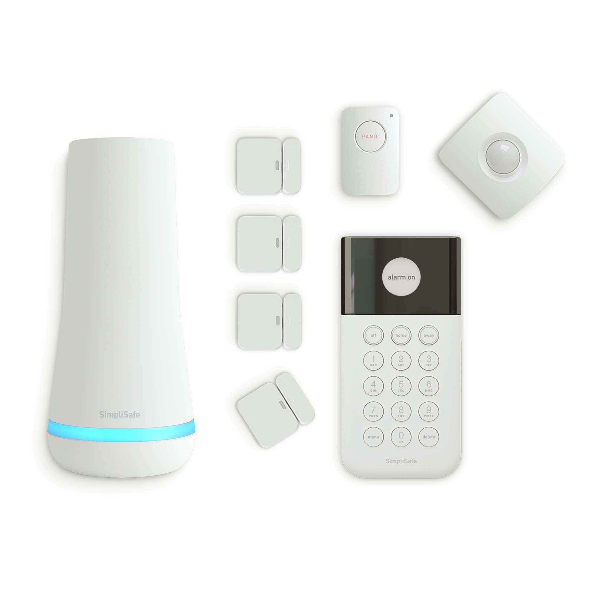 SimpliSafe SS3 Wireless System with HD WiFi Security Camera: Complete Home Protection with Easy DIY Setup, 24/7 Alarm Monitoring & no Contract (White, 8 Pieces), 8 pc,