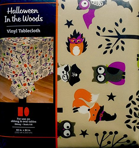 Meijer, Inc. Halloween In The Woods Fun Animal Friends Vinyl Tablecloth 60 Inch X 84 Inch