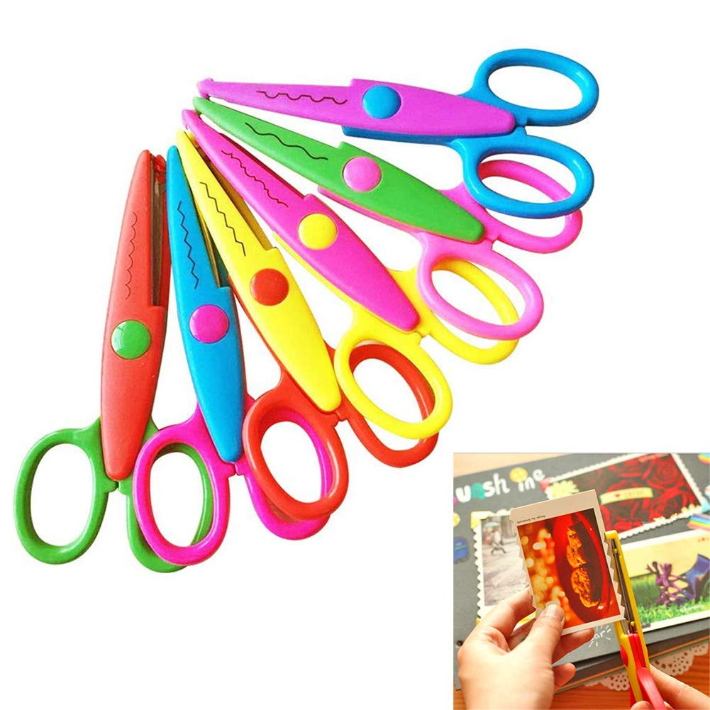 Qincling Paper Edge Scissors Set, 6 PCS Colorful Decorative Craft Scissors Childrens Kids Safety Scissors For Teachers Students Scrapbooking DIY Photos Album