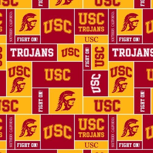 (Sykel Enterprises Collegiate Fleece University of Southern California Blocks Red/Gold Fabric By The Yard )