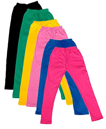-Multiple Colors-17-18 Years Indistar Big Girls Cotton Full Ankle Length Solid Leggings Pack of 9