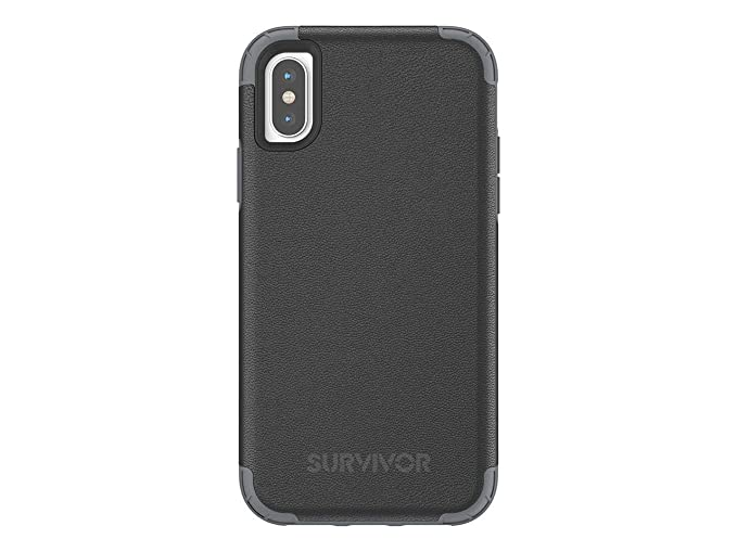 best loved 06134 3e784 Griffin, iPhone X Case, Survivor Prime, Premium Leather Case, 7ft Drop  Protection, Slim, Black