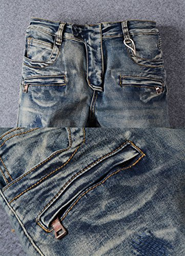 Men's Slim Straight Fit Knee Patched Blue Wash Biker Jeans with Zip Deco 42