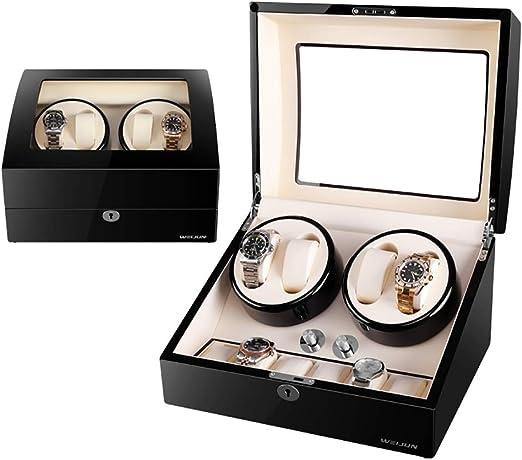 Caja giratoria para Relojes Caja de enrollador de Reloj automático de Madera 4 Relojes de Pulsera + 6 Estuches de Almacenamiento, 5 Modos de rotación Caja de vitrinas de Almacenamiento, m: Amazon.es: Relojes