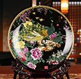 All Decor Beautiful Home & Office Decor Accent - 10'' Chinese Fine Porcelain Plate Decorative Double Peacock Black