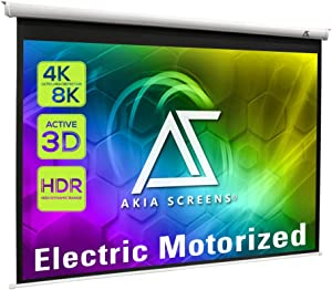 Akia Screens 104 inch Motorized Electric Remote Controlled Drop Down Projector Screen 4:3 8K 4K HD 3D Retractable Ceiling Wall Mount White Projection Screen Office Home Theater Movie AK-MOTORIZE104VW