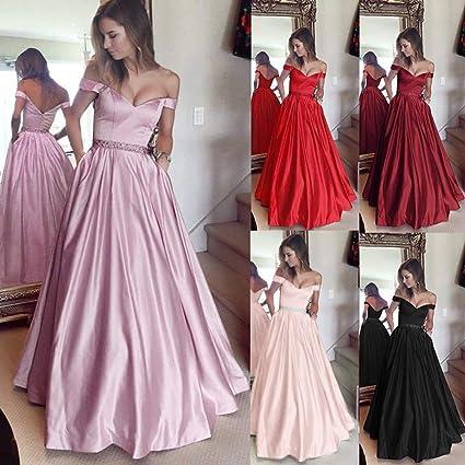 Minetow sukienka wieczorowa z dekoltem w kształcie litery V, bez rękawÓw, elegancka sukienka koktajlowa, długa sukienka dla księżniczki, sukienka balowa, sukienka imprezowa: Odzież