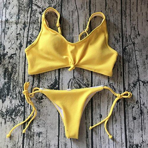 Traje de baño bikini mujeres Push-Up acolchado baño de playa Tankini sujetador conjunto Amarillo