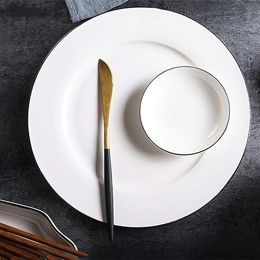 XCXDX Simple Moderno, Blanco Marfil, Línea Blanca, Porcelana, Vajilla, Sopa, Plato, Plato De Pescado, Plato Plano, Plato De Sopa, Plato, Salsa, ...