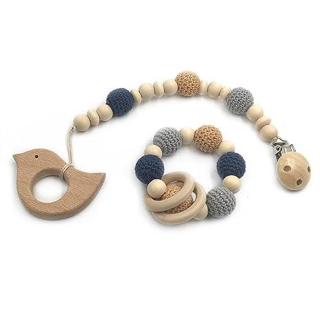 Coskiss 2pcs Bebé dentición juguete de madera de dientes perlas de ...