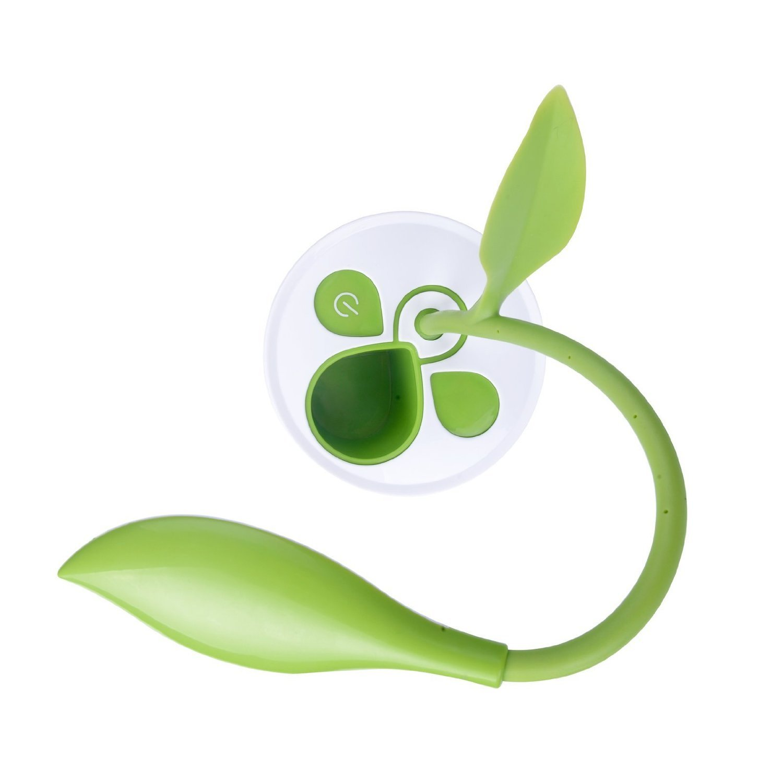 MKDMiD Flexible USB Touch Desk Lamp Wireless LED Desk Lamp 3 Level of Brightness Sapling Pot with Plant Pencil Holder A//Dark green