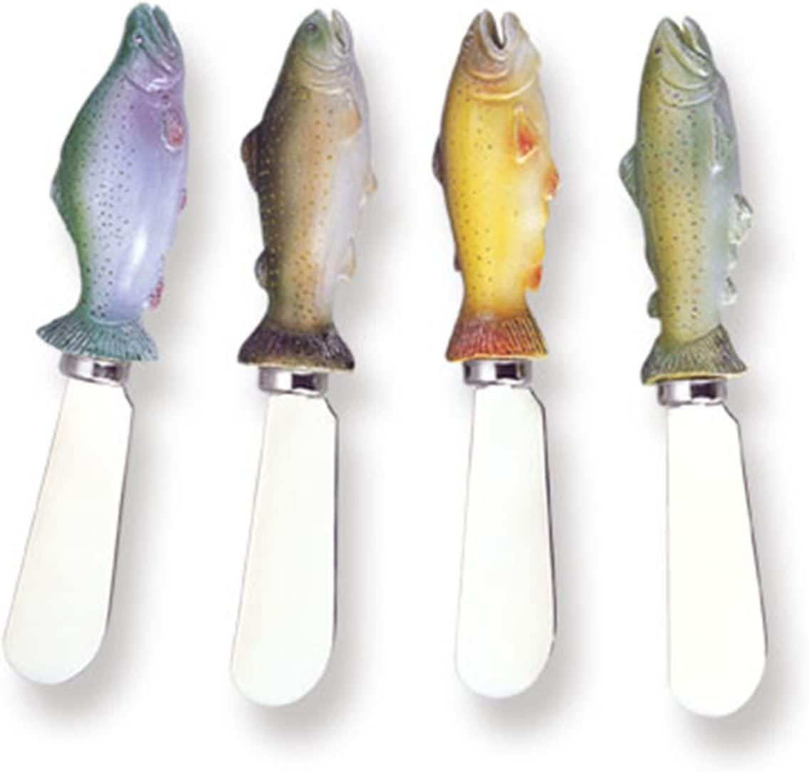 """Wine Things Salmon Resin Cheese Spreaders Set of 4, 5"""", Multicolor"""