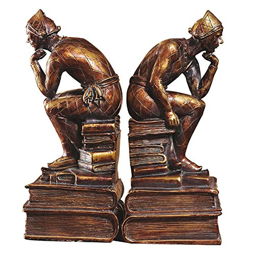 LPY-Set of 2 Bookends Resin Thinker Style Handicrafts, Book Ends for Office or Study Room Home Shelf Decorative ()