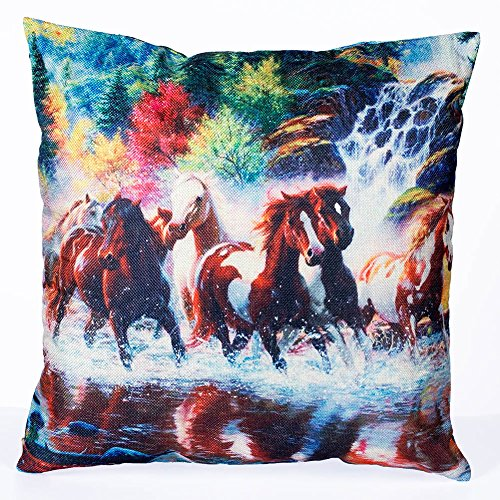 Longshengv Decorative Throw Pillow Covers Running Horse Couch Pillows Cover 18 x 18 Inch Square Pillow ()