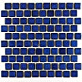 "Vogue Premium Quality 1-1/8"" x 1-1/8"" Cobalt Blue Brick Pattern Porcelain Mosaic Tile on Mesh on 12x12 sheet, Designed in Italy"