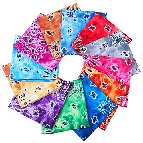 URATOT 12 Pack Cotton Tie Dye Bandana Paisley Bandanas Cowboy Handkerchiefs for Men and Women -