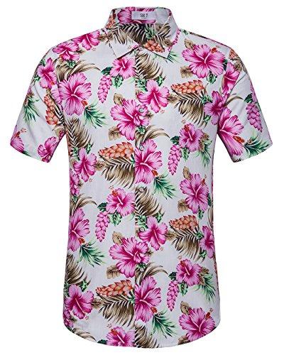 SIR7 Men's Hawaiian Flower Ptint Casual Button Down Short Sleeve Shirt Pink M (Hawaiian Pink Shirt)
