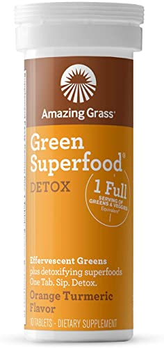 Amazing Grass, Effervescent Detox Orange Turmeric Tube, 10 Count