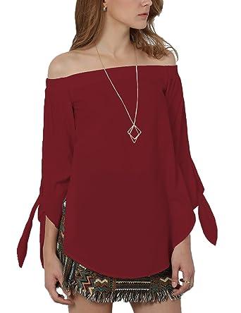 c209784c888304 Just Quella Women's Off Shoulder Loose Shirt Blouse 8422 (S, Wine)